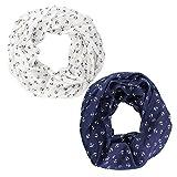 Set Angebot | 2x Anker Loop Schal in blau & weiß | Maritim Damen Halstuch | super leicht mit 50% Seide