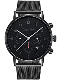 Gigandet Quarz Herren-Armbanduhr Minimalism II Dualzeit Uhr Datum Analog Milanaise Edelstahlarmband Schwarz Grau G21-007