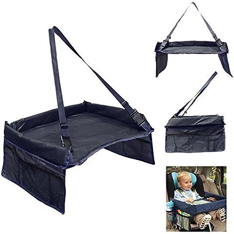 OurKosmos® Vassoio auto bambino tavolo per bambini Snack sede di automobile impermeabile di sicurezza regolabile Cintura tavolo da disegno di Buggy viaggio vassoi passeggino per bambini auto con tasche