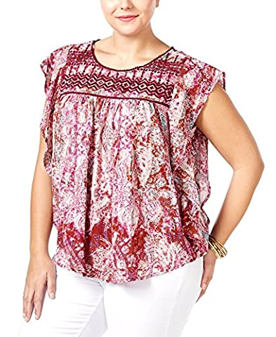 Jessica Simpson Top S Printed Embroidered Flutter Sleeve Legacy Purple