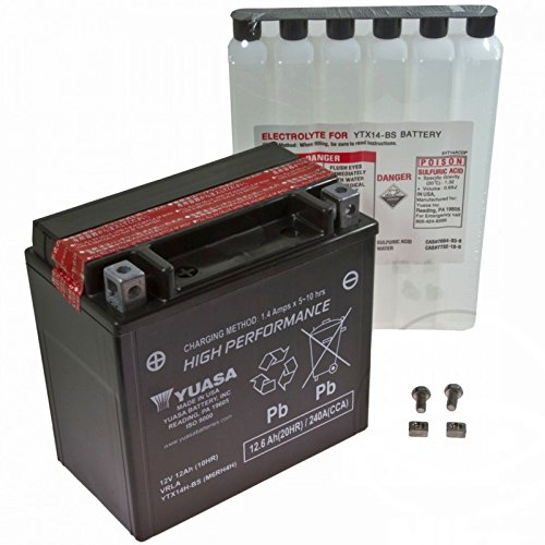 AGM Batterie Buell XB12Scg 1200 i.e. Lightning Short 07-10 Yuasa YTX14H-BS Dry 7071822 (Lightning Dry Short)