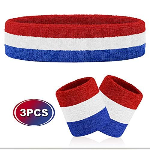 Blue Mühelos Baumwolle (VENI MASEE Schweißband Set Sport Stirnband und Handgelenk Schweißbänder Baumwoll Schweißband - A4-Blue/White/Red(1Headband+2Wristbands))