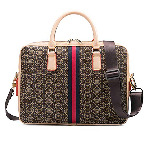 Herren Leder 14 Zoll Laptop Messenger Aktentasche Büro Schulter Reisetasche Handtasche Weekend Bag,Brown-OneSize - Zwickel-aktentasche Aus Leder