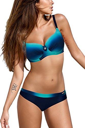 Kostüm Schwimmen Größe Plus - AMAGGIGO Frauen Kristall Diamant Hohe Taille Zwei Stück Bikini Set Einfarbig Gepolsterte Push Up Bademode Schwimmen Kostüm Plus Größe Heißer (FBA) (EU 42-44, Schwarz-Blau)