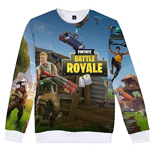 IUGENQL Fortnite Unisex Sweatshirts Bedrucktes 3D Blusen Trendiger Pullover Klassisch Lässige Langarmshirt Loose Sweatshirts Rundhals Lange Ärmel Oberteil Große Größen