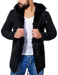 Redbridge Herren Kurzmantel Parka Jacke mit Kunstinnenfell Winterjacke warm gefüttert M6032 schwarz