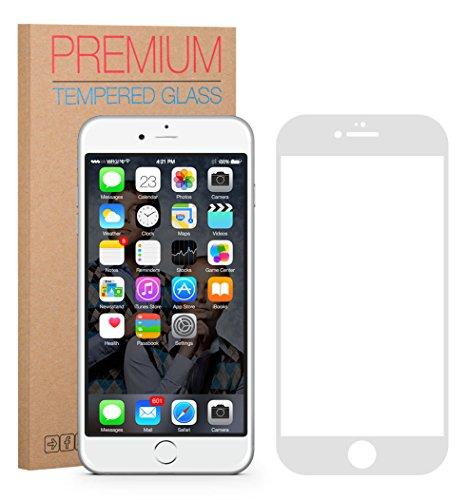FUTLEX Premium Protector de pantalla de vidrio templado para iPhone 6 / 6S - Blanco - PROTECCIÓN COMPLETA - vidrio de dureza 9 H - grosor de 0,33 mm - transparencia de alta definición - bordes redondeados 2,5 D - antigolpes - recubrimiento oleofóbico - tacto delicado - vidrio de alta calidad - fácil de instalar - adhesivo de silicona sin burbujas - vidrio japonés