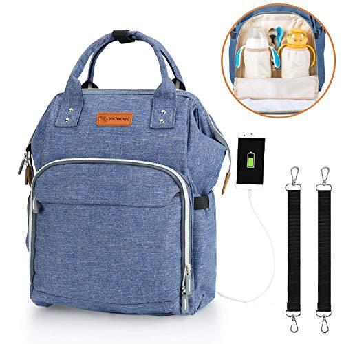 Wickelrucksack Große Wickeltasche Wasserdichte Babytasche Mama Rucksack Oxford für Baby Damen Herren Kinderwagens SNAWOWO (Blau) -