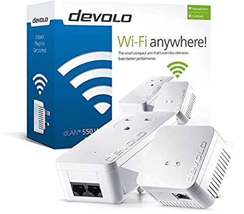 devolo dLAN Powerline 550 Wi-Fi Starter Kit twin pack, speeds up to 500 Mbps through the socket, 300 Mbps over WiFi, 2x Powerline adapter, PLC adapter, WiFi extender, WiFi Booster, whole home