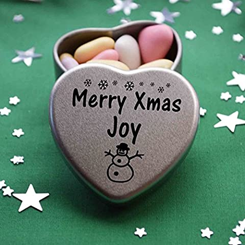 Merry Xmas Joy Mini Heart Gift Tin with Chocolates Fits Beautifully in the palm of your hand. Great Christmas Present for Joy Makes the perfect Stocking Filler or Card alternative. Tin Dimensions 45mmx45mmx20mm. Three designs Available, Father Christmas, Snowman and Snowflakes. They also make perfect Secret Santa
