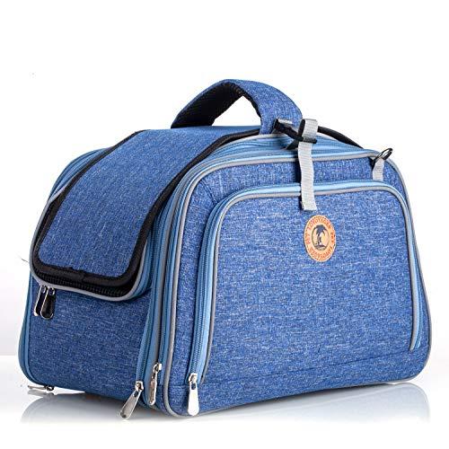 BEST IN DE Transporttasche Hundetragetasche Transportbox für Kleintiere Airline Approved Katzentasche (Blue)