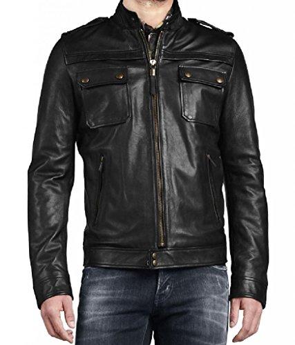 Herren Leder Jacke Biker Motorrad Mantel Slim Fit Jacken, auk082 Gr. X-Small, schwarz (Herren Leder-junction-jacke)