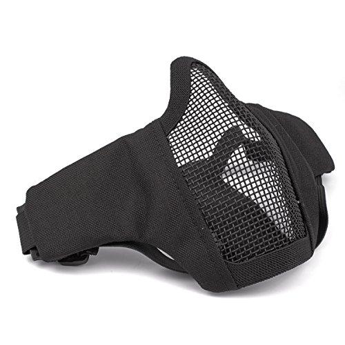 GES plegable táctico media mascarilla de la máscara al aire libre malla protectora Riding máscara transpirable para Airsoft Paintball CS con correa ajustable Cinturón (Negro)