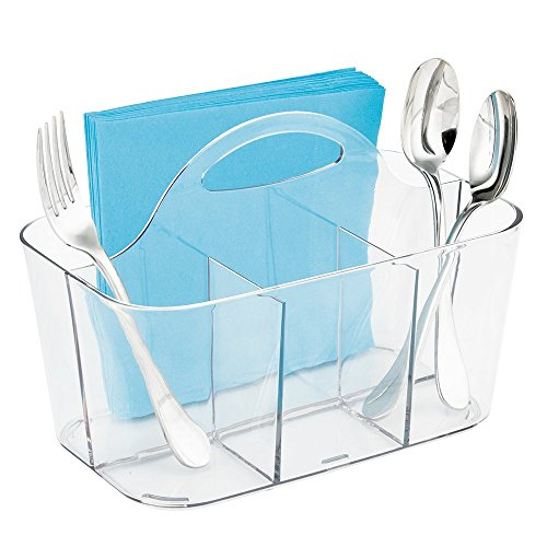 mDesign Utensil Storage - Flatware Caddy, Silverware Utensil Holder - Kitchen Organiser - Clear