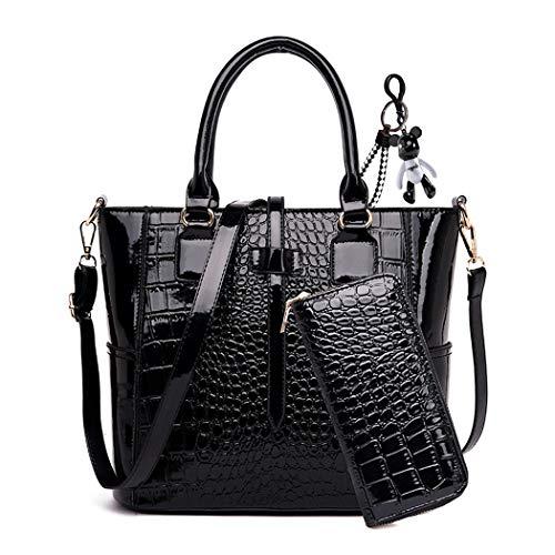 AINUOEY Femme Sacs à main Fleuri Sacs portés épaule Sacs bandoulière Faux Cuir Mode Noir