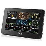 FanJu FJW4 WLAN Wetterstation mit APP-Steuerung/Smart Weather Monitor Uhr mit USB-Anschluss/Innen-/Außentemperatur und Luftfeuchtigkeit/Windgeschwindigkeit / Digitaluhr mit Außensensor