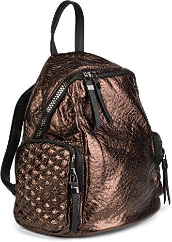 styleBREAKER Rucksack Handtasche in Metallic Stepp Optik und Reißverschluss, Tasche, Damen 02012199, Farbe:Bronze Metallic Dunkelbraun Metallic