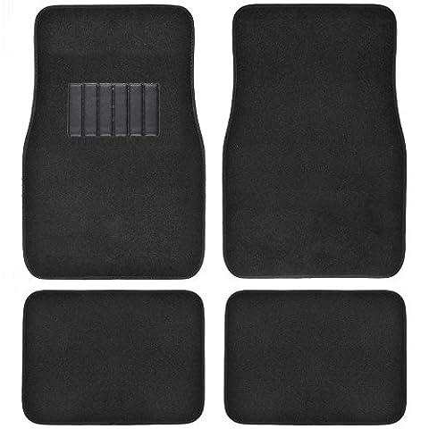 BDK MT-100-BK Black Carpet Floor Mat, 4 Piece (Premium for Car Truck SUV Van Front & Rear w/ Heelpad) by BDK