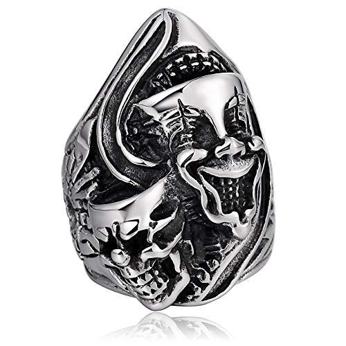 (Beydodo Edelstahlring Herren Schädel Totenkopf Clown Gothic Ring Silber Freundschaftsring Partnerring Gr.67 (21.3))