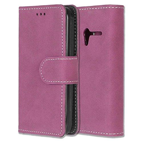 Alcatel One Touch Pixi 3 (4.0) Hülle, Chreey Matt Leder Tasche Retro Handyhülle Magnet Flip Case mit Kartenfach Geldbörse Schutzhülle Etui [Rose Rot]
