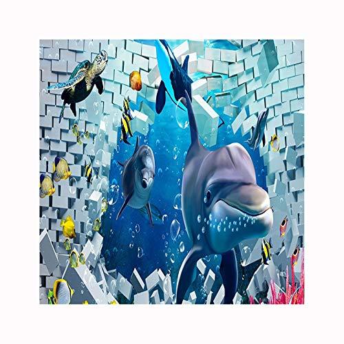 Daesar Vintage Duschvorhang aus Polyester-Stoff Delphine aus Wand Antischimmel 3D Duschvorhang...