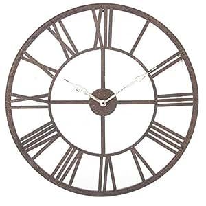 Grande horloge pendule murale en m tal style vintage for Pendule de cuisine amazon