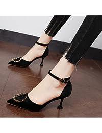 Xue Qiqi Zapatos de la Corte Ranurado de terciopelo dorado antiguo punto de amarre luz-solo zapatos con finos...