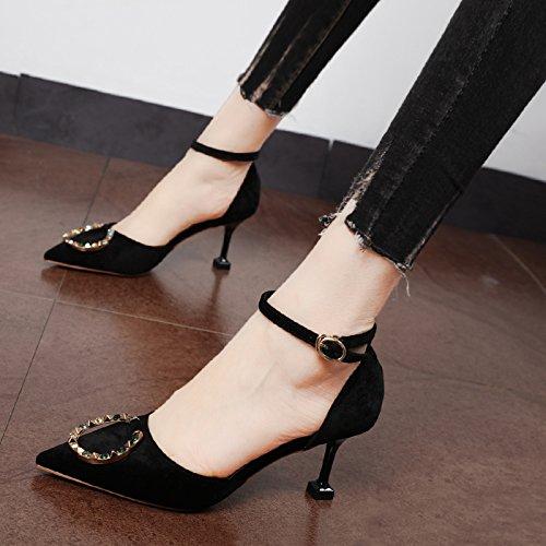 Xue Qiqi Court Schuhe Antique Gold velvet geschlitzten Riegel Punkt Licht - einzelne Schuhe fein mit farbigen Diamanten Kreis für den high-heel Schuhe, 38, Schwarz
