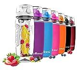 Willceal Bouteille d'eau avec infuseur à fruits 0,95 l Fabriquée en Tritan sans BPA, couvercle à rabat, anti-fuite Convient pour le sports et le camping, blanc