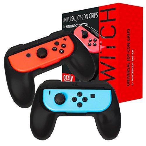 Grips de Orzly compatibles con los Joy-Cons de la Nintendo Switch - PACK DE DOS (2x NEGRO) Grips Universales para usar con los JoyCons de la Nintendo Switch