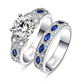 JQUEEN Round Cut Cubic Zirconia Blue Sapphire Wedding Anniversary Engagement Bridal Rings Set 7