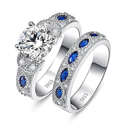 JQUEEN Round Cut Cubic Zirconia Blue Sapphire Wedding Anniversary Engagement Bridal Rings Set 7
