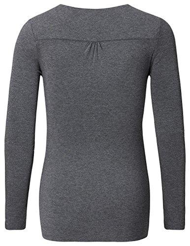 Noppies Damen Umstands Langarmshirt Top Hada 2 mit Stillfunktion Grau (Anthracite Melange C247)
