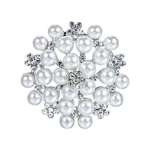 Cdet 1X Brosche Einfach Perlen-Diamant Legierung DEK Frauen Brosche/Herren Brosche Anzug Brooch/Hochzeit Dekoration/Geburtstags Geschenk Pin (Weiß)
