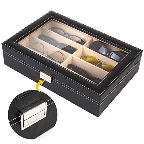 MVPOWER Brillenbox mit Schaufenster aus Glas für 8 paar Brillen Brillendisplay Brillenorganizer Brillenaufbewahrung / Präsentation - Kunstleder Schwarz - 33.5 x 22.5 x 8 cm (8 Fächer)