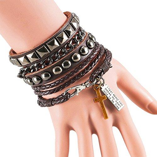 Cool moda Punk pelle Street Rock bracciale multistrato 8colori, acciaio inossidabile, colore: Brown, cod. 309