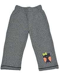 CrayonFlakes Kids Wear Grey Owl Patch Cotton Nylon Brushed Fleece Pants