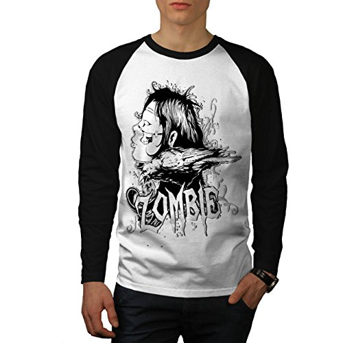 Mädchen Grube Kostüm (Zombie Monster Mädchen Krähe Herren NEU Weiß (Schwarz Ärmel) L Baseball lange Ärmel T-Shirt |)