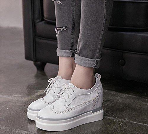 Trifle mit schweren Boden Schuhe Schuhe in den höheren Frau Frühling und Herbst Schuhe tief Mund sondern Schuhe White