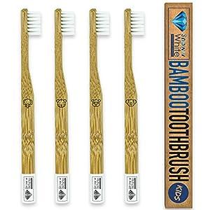 Bambus Zahnbürste für Kinder 4er Set – Pflegend weiche Borsten – Kleiner Bürstenkopf – Ökologische Kinderzahnbürste – Plastikfrei verpackt zur umweltfreundlichen Mundhygiene