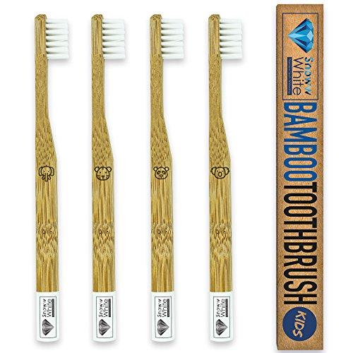 Bambus Zahnbürste für Kinder 4er Set - Pflegend weiche Borsten - Kleiner Bürstenkopf - Ökologische Kinderzahnbürste - Plastikfrei verpackt zur umweltfreundlichen Mundhygiene