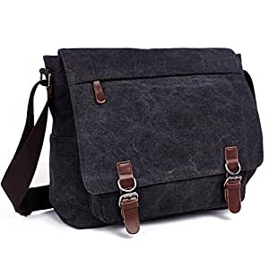 AIZBO Laptop Messenger Bags, Men's Shoulder Bag, 17 Inches Satchel Bag Crossbody Casual Day Bag for School and Work. Black