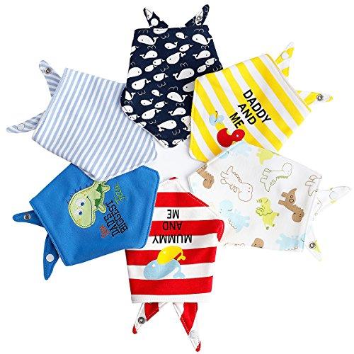 6pcs Baby Dreieckstuch Lätzchen Jungen/Mädchen Spucktuch Baumwolle Halstücher mit süßen Motiven in unterschiedlichen Farben, Doppellagig Saugfähig (Ganzkörper-bib)