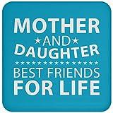 Designsify Best Friends for Life Untersetzer für Mutter und Tochter mit Kork-Rückseite, lustiges Geschenk für Freund, Geburtstag, Hochzeitstag, Türkis, Einheitsgröße