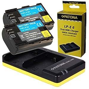 Dual Chargeur PATONA + 2x Batterie pour Canon LP-E6 EOS 70D 60D 60Da 7D Mark II 6D 5DS 5D R 5D Mark II III