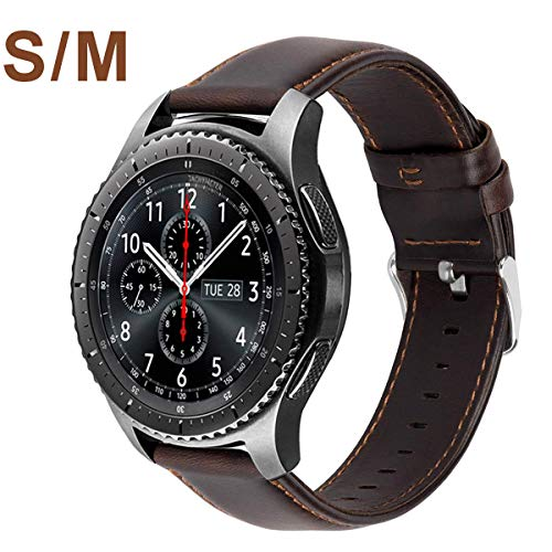 MroTech 22 mm Cinturino compatibile per Samsung Galaxy Watch 46mm/Gear S3 Frontier Cinturino in Pelle di Ricambio per Huawei Watch 2 Classic/GT/GT Active/GT Elegant Banda 22mm Bracciale Coffee