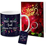 VESPL Merry Christmas and New Year Celebration Greeting Message Card, Ceramic 1 Mug and Keychain
