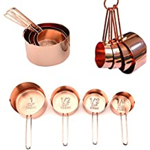 JOYORUN Copper Stainless Steel Measuring Cups, Set of 4 - Gorgeous & Heavy Duty, Mirror Polished, Ideal For All Ingredients