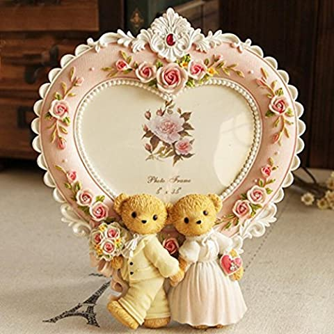 Aoligei Cute bear carved wedding photo children photo frame