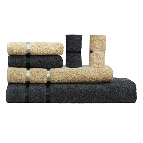 Story@Home 6 Piece 450 GSM Cotton Towel Set - Beige and Charcoal Gray